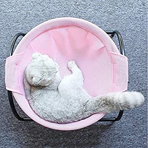Summer Mesh Cat Hammock Bed Breathable for Kittens Kitties Pups Small Pets,Detachable Cover,Stable Iron Frames, Easy to Clean Machine Washable, Keep Pets Away from Moisture & Skin Diseases (Color: Grey, Tamaño: 16.5 x 17.7 x 9)