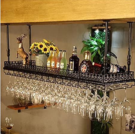 CDBL Barra de Bar mostrador de Bar Estante de Vino Restaurante hogar Copas de Vino Estante invertido Retro Arte de Hierro bastidores de Vino Bastidores de Stemware (Tamaño : 80 * 35cm)