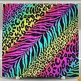 Pink Zebra Print Shower Curtain Rainbow Animal Zebra Print Shower Curtain Waterproof/Water-Repellent 60