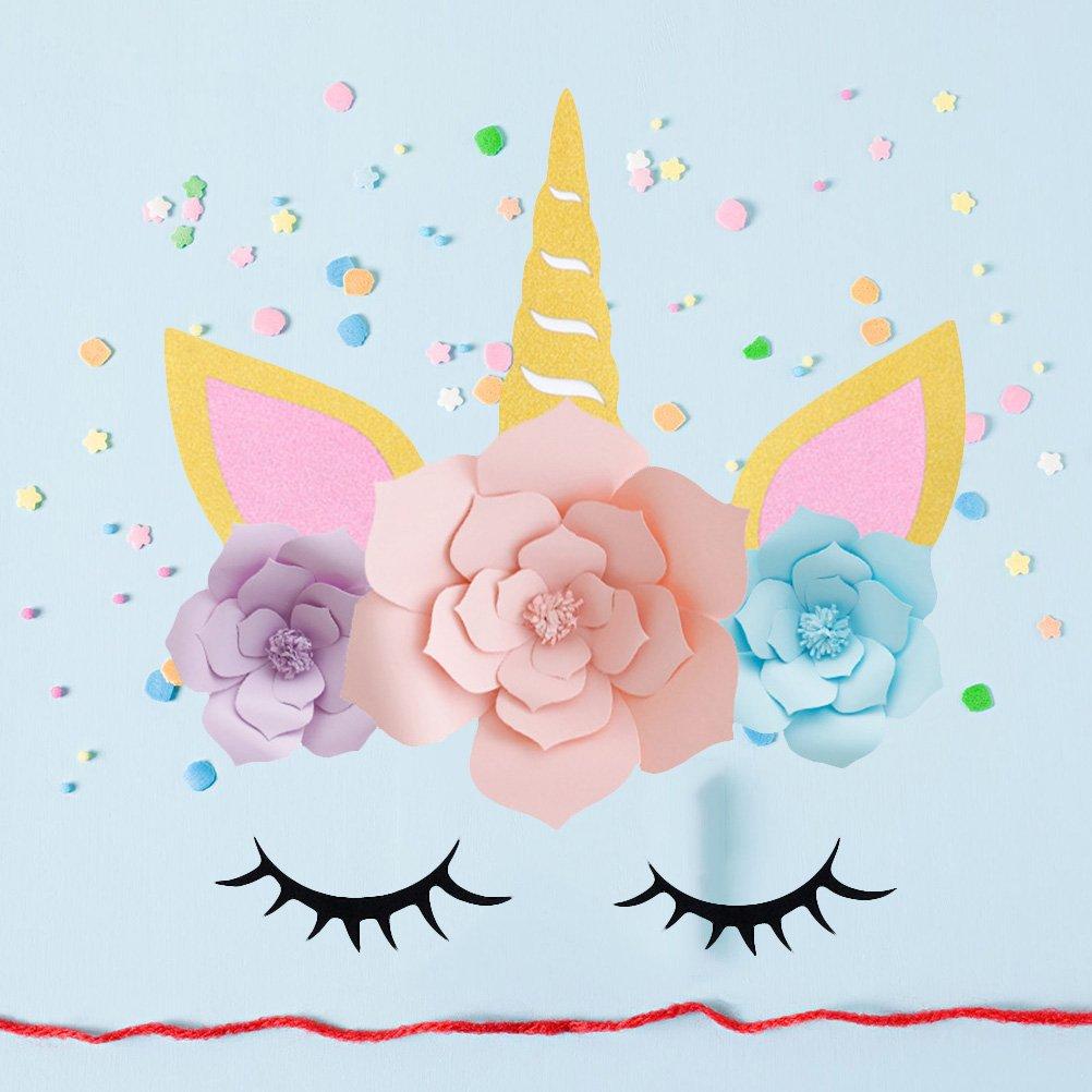 Amosfun Fiori di carta Pom Poms DIY Ornamenti di unicorno per la festa di compleanno Fidanzamento Decorazione di cerimonia nuziale Decorazione per bambini