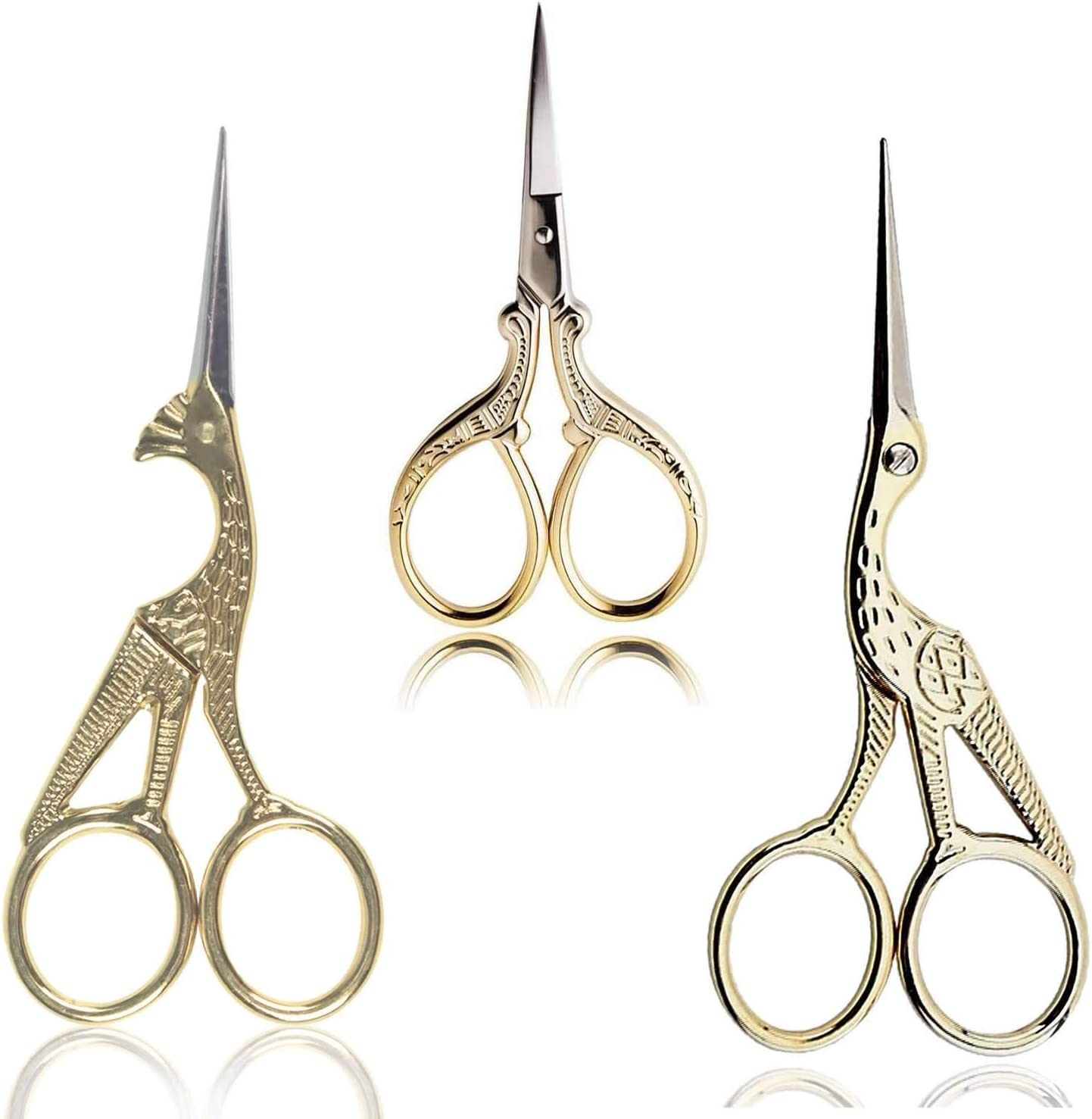 BIHRTC Scissors 2Pcs 4.5 Inch Bird Sewing Scissors and 1PC 3.6 Inch Embroidery Scissors Stainless Steel Sharp Tip Stork Scissors Shears for Craft Sewing Needlework Art Work Office Everyday Use Gold