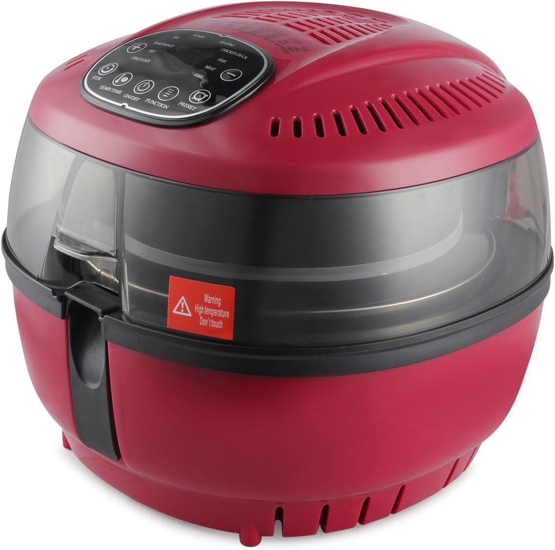 DELLA XL Large Digital Air Fryer Electric 10 Quart 1200W Portable Stirrer Rotisserie Oil Less Roaster Fry Food, Red