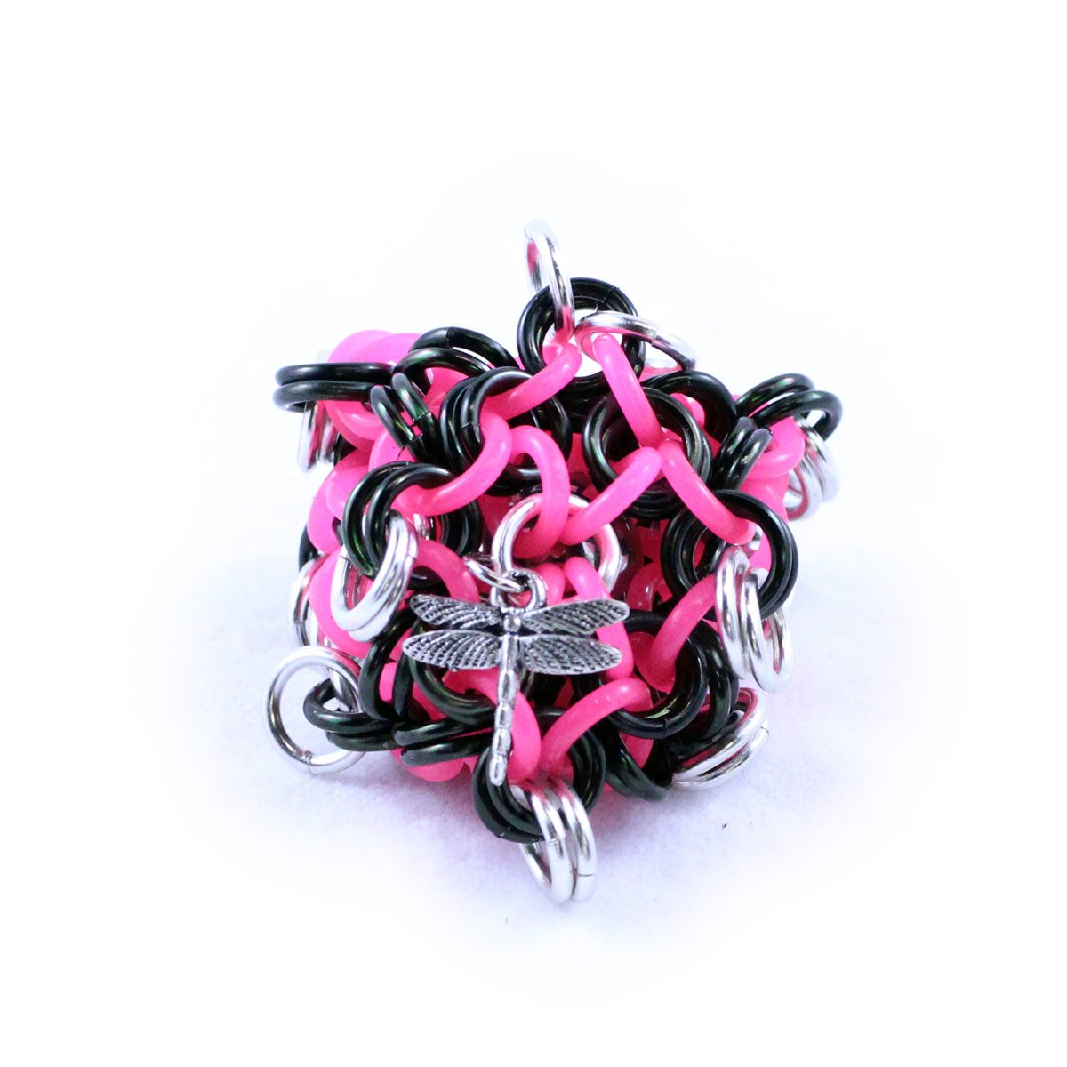 Dragonfly Footbags Black, Hot Pink and Silver 22 Gram Chainmail Footbag (Hacky Sack)