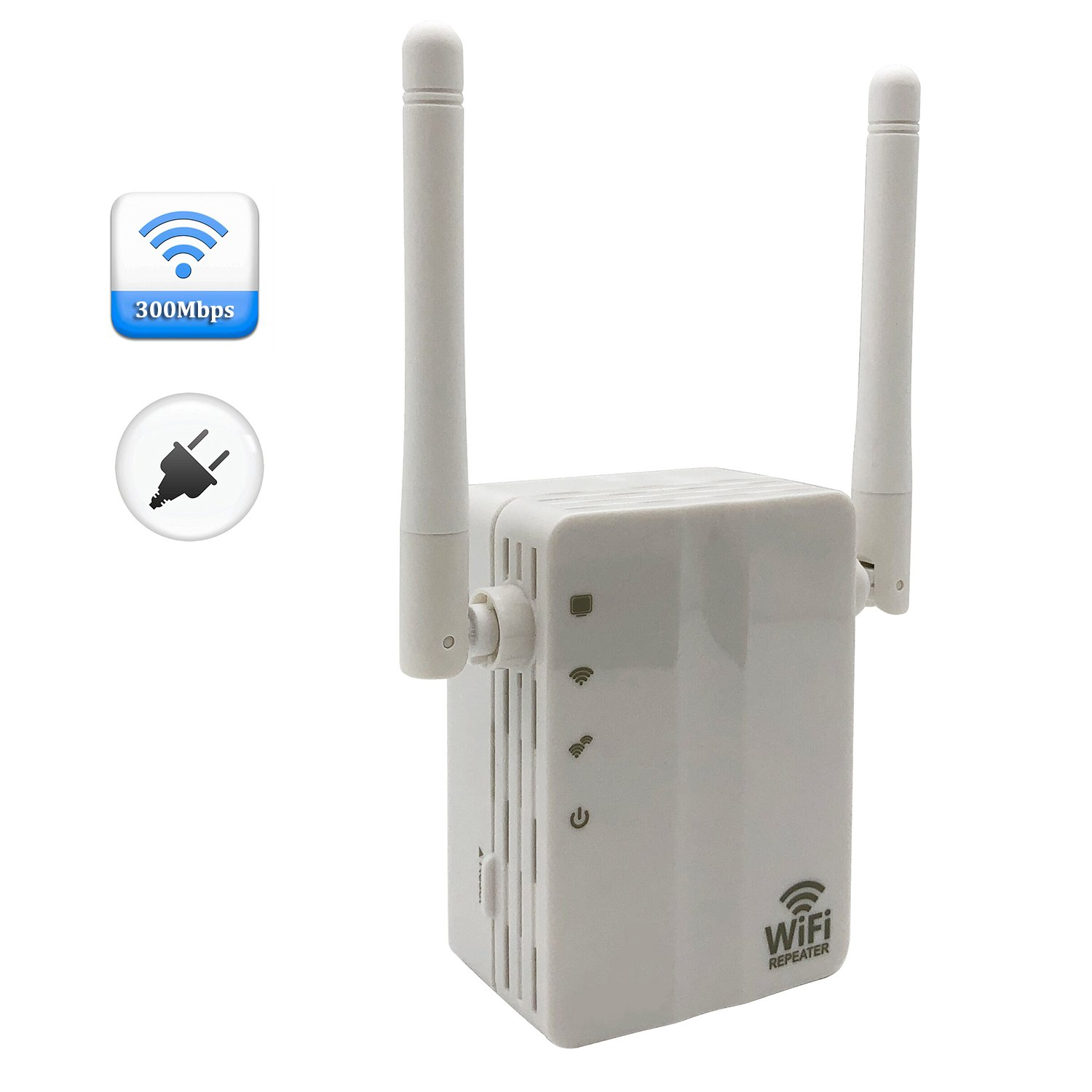 300Mbps Wall Plug WiFi Range Extender Repeater for Boost Smart Home WiFi Coverage - White