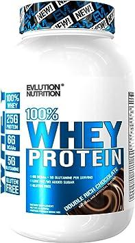 Evlution Nutrition 100% Whey, 25g de Proteína de Whey, 6g de BCAA, 5g de Glutamina, Libre de Gluten, 908 g (Doble Chocolate)