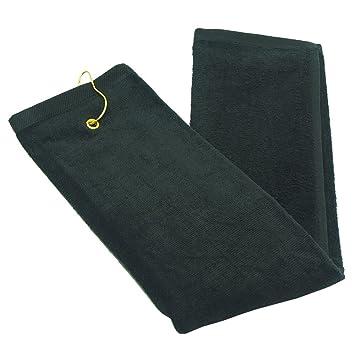 Juego de dos toallas de golf de calidad simple - 100% algodón de terciopelo con clip giratorio para colgar, Negro: Amazon.es: Deportes y aire libre