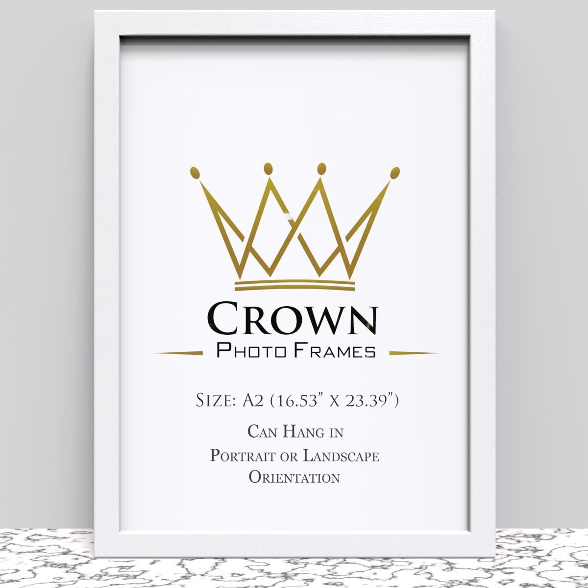 Crown Oak Photo Frame for A2 42 x 59.4 cm (16.53x23.39 Inches) Picture Photo Poster Certificate, Hang on wall in both Landscape and Portrait Crown Photo Frames