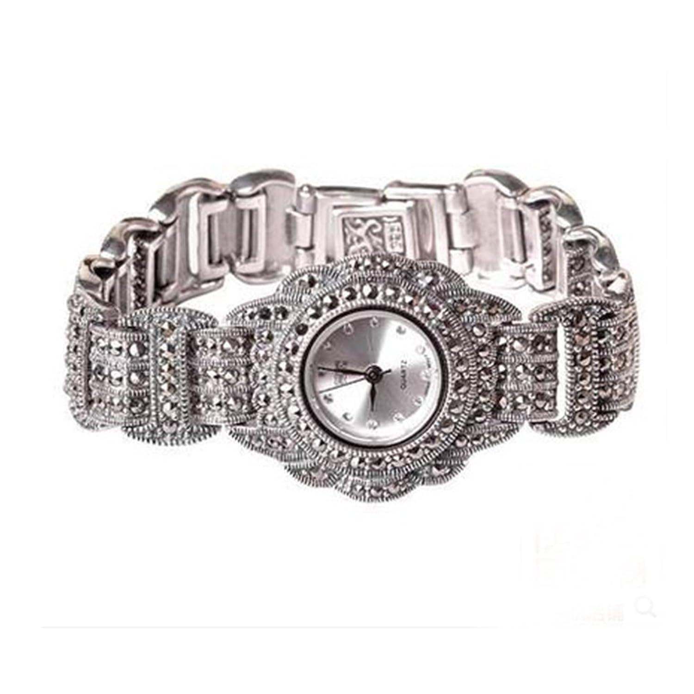 Luxus Damen-Armbanduhr Antik Sterling Silber mit Markasit