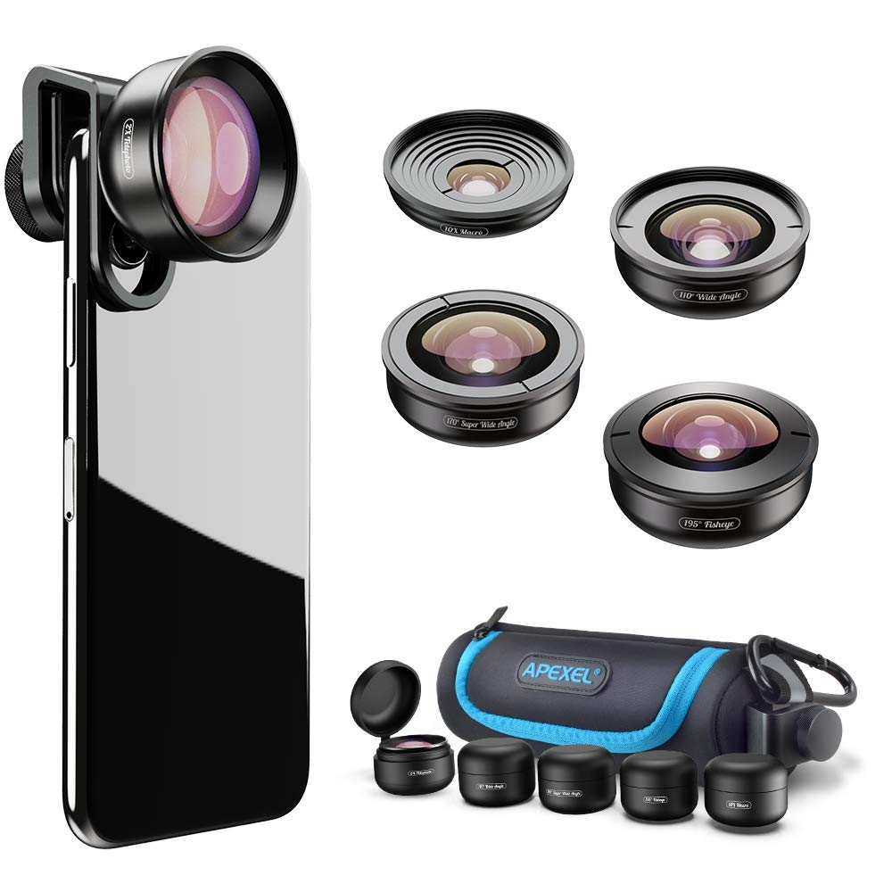 Apexel 5 in 1 Phone Camera Lens Kit -2X Telephoto Lens+195°Fisheye+110°Wide Angle +10X Marco+170°Super Wide Angle Cell Phone Lens Kit for iPhone Samsung and Most of Smartphone