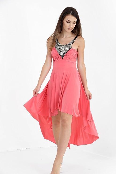 Damen Slinky verzierten Ausschnitt High Low Cocktail Prom Floaty Skater  Kleid EUR Größe 36-42: Amazon.de: Bekleidung