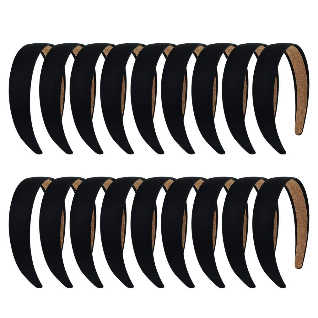 Yolyoo 18 Pieces Satin Headbands Anti-slip Ribbon Black Hair Bands for Women Girls DIY Craft Hair Accessories(1.18 Inch Wide)