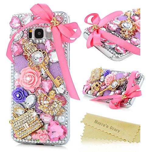 S8 Plus Case, Mavis's Diary Luxury 3D Handmade Bling Sparkle Full Crystal Pearl Colorful Diamonds Fashion Flowers Crown Key Bag Design Full Edge Protection Clear Hard PC Case Made for (Diamond Bling Hard Case)