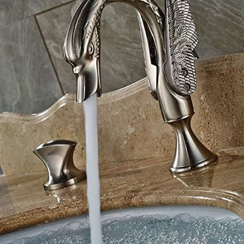 GOWE Widespread Basin Mixer Taps Deck Mount Swan Style Bathroom Sink Faucet with Dual Handle 4