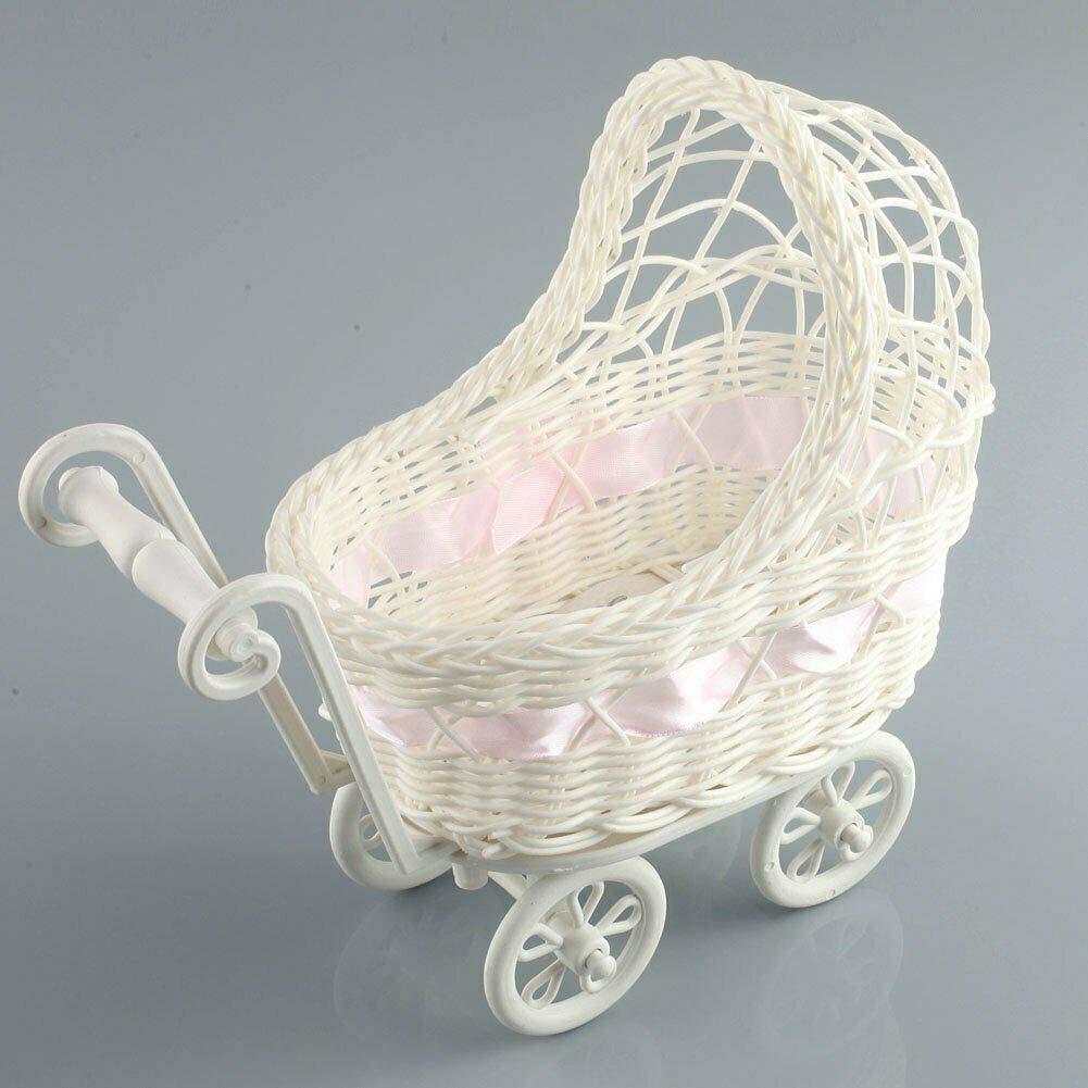 Honeybeloved Basket Flower Vase Storage Organizer Baby Shower Party Gifts Wicker Hamper Pram Pink Size: 25 x 11x 23cm(LWH)