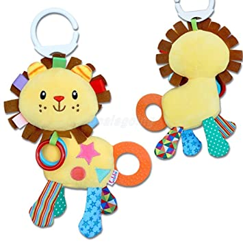 Newborn Baby Bed Hanging Plush Rattle Teether Ring Paper Handkerchief Toys S