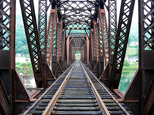 Gifts Delight Laminated 32x24 inches Poster: Railroad Bridge Tracks Rails Trusses Triple Pratt-Style Iron Perspective Transportation View Shapes Structure Architecture