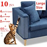 """10 Pcs Furniture Protectors from Cats, Clear Self-Adhesive Cat Scratch Deterrent, Couch Protector 4 Pack X-Large (18""""L 12""""W) + 4 Pack Large (18""""L 9""""W) + 2 Pack (18""""L 6""""W) Cat Repellent for Furniture,"""