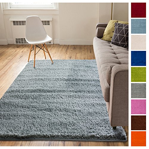 Solid Retro Modern Light Blue Shag 5x7 (5' x 7'2'') Area Rug Plain Plush Easy Care Thick Soft Plush Living Room Kids Bedroom