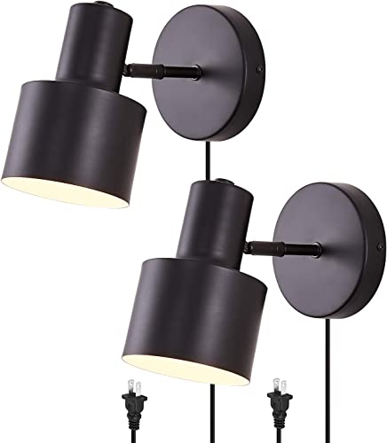 Black Wall Sconces Lamps Lighting Fixture,with ON/Off Cord Industrial Vintage E26 Wall Lamp Fixture Simplicity Black Adjustable Wall Lights Set of 2,Bedside lamp Bathroom Vanity Lights