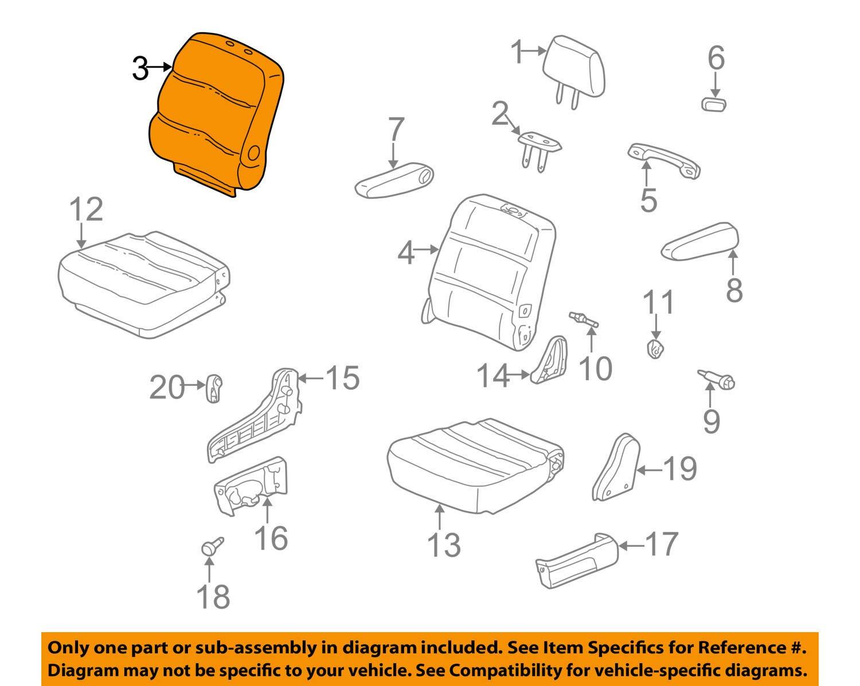 Honda Genuine 81321-S0X-A31ZA Seat Back Trim Cover Middle Right