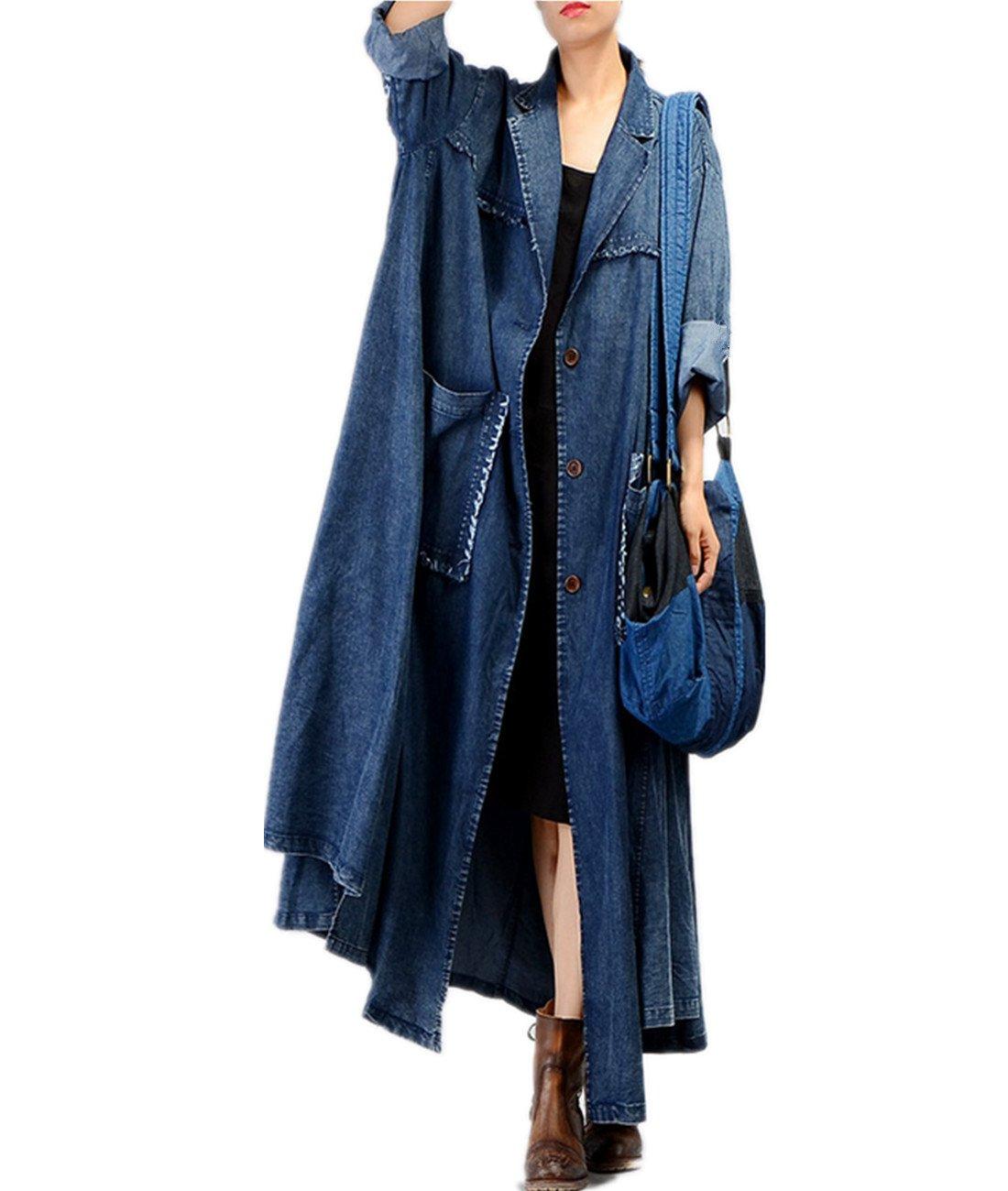 YESNO JQ3 Women Fashion Long Loose Maxi Distressed Denim Trench Jacket Coats Casual Plus Size Lapel Fringed Cut Large Hem, Blue, One Size