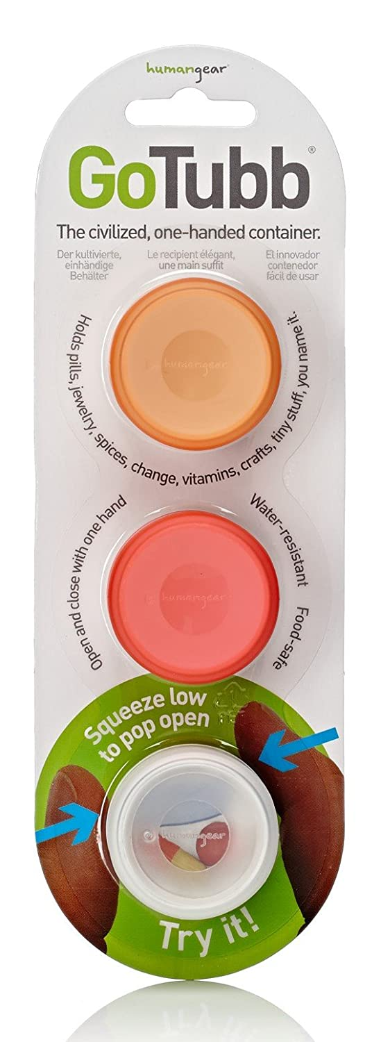 Gotubb - 3 Pack Humangear GoTubb 3-Pack Small (0.4oz) Clear/Orange/Red
