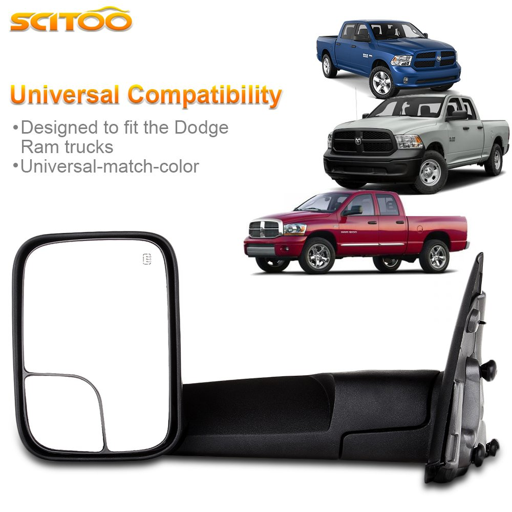 SCITOO Towing Mirrors fit Dodge Ram Exterior Accessories Mirrors fit 02-08 Ram 1500 03-09 Dodge Ram 2500 3500 Blind spot mirror Telescoping Features 02-08 power heated mirrors
