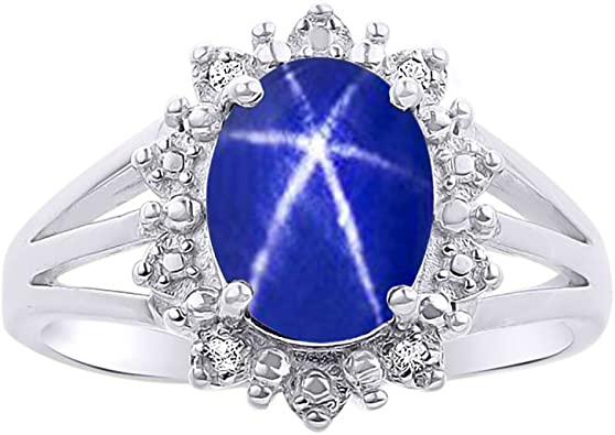 925 Silver All Sizes Sterling Silver Blue Sapphire Lady Diana Cluster Ring