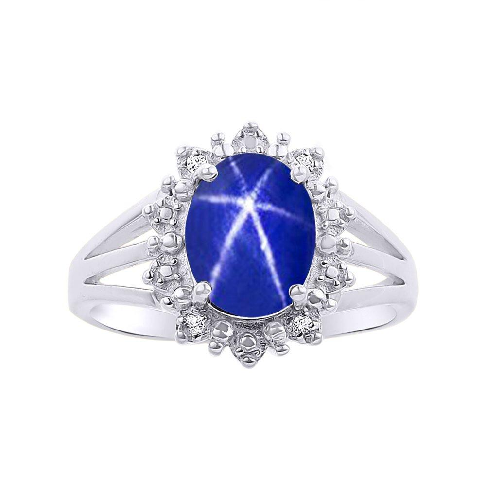 Princess Diana Inspired Halo Diamond & Blue Star Sapphire Ring Set In 14K White Gold