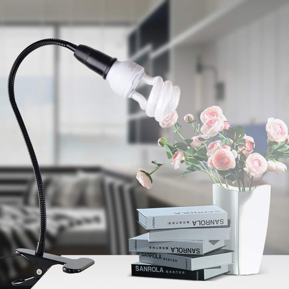 360 Degree Flexible lamp Holder Clip E27 lamp Holder with Switch Holder UK Plug with Flexible gooseneck Indoor Plant Clip Table lamp 无