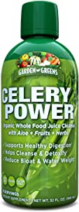 Garden Greens Celery Power Organic Whole Food Juice Cleanse with Aloe + Fruits + Herbs, 32 Oz