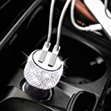 Dual USB Car Charger Bling Bling Handmade Rhinestones Crystal Car Decorations for Fast Charging Car Decors for iPhone iPad Pro/Air 2/Mini Samsung Galaxy Note9/8/S9/S9+LG Nexus HTC etc