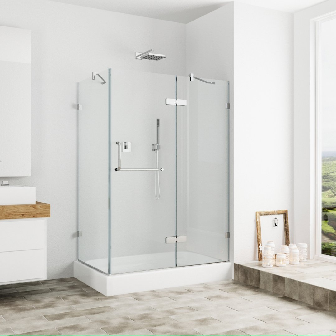Charmant VIGO Monteray 36 X 48 In. Frameless Shower Enclosure With .375 In. Clear  Glass And Brushed Nickel Hardware (Right Base Included)   One Piece Tub And  Shower ...