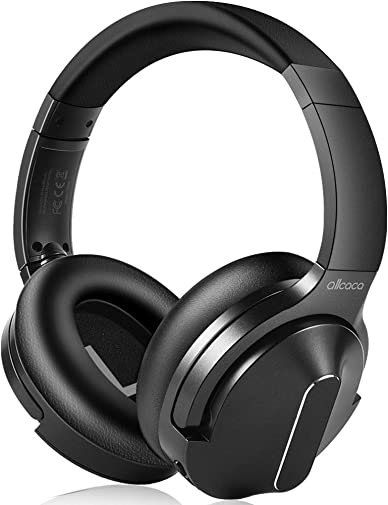 Active Noise Cancelling Headphones, ALLCACA Wireless Headphones Over Ear with Mic Deep Bass 30 Hrs Playtime Hi-Fi Sound Adjustable Headsets Built-in Mic for Travel Work with PC,Cellphone,Tablet