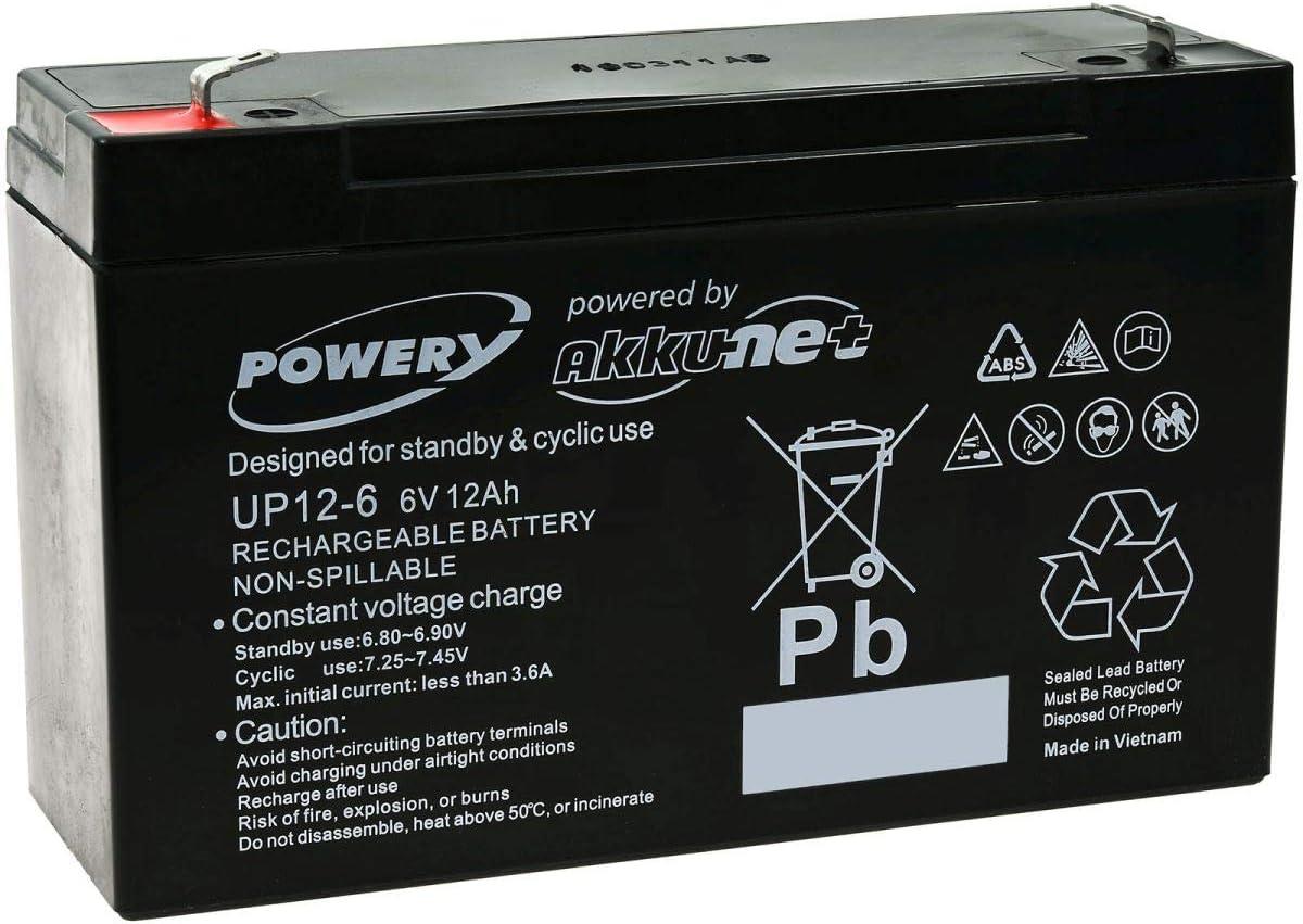 Powery Recambio de Batería para Vehículos para niños Coche Infantil Quad 6V 12Ah (Reemplaza también 10Ah)