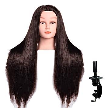 Amazon Com Luaija Mannequin Head 26 28 Long Synthetic Fiber Hair Styling Training Head Manikin Cosmetology Doll Head Hair With Free Clamp Holder Black Synthetic Fiber Hair Beauty