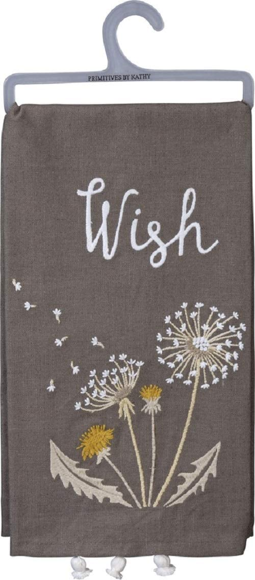 Primitives by Kathy Embroidered Dish Towel, Dandelion - Wish