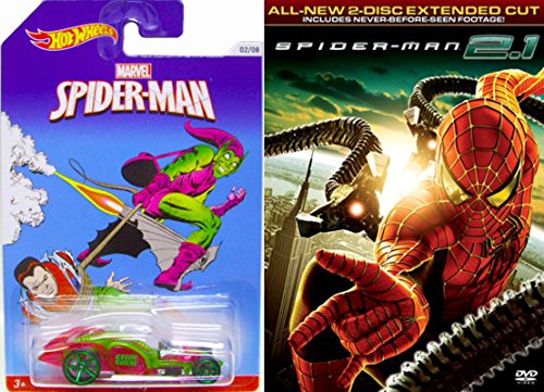 Hot Wheels Exclusive Spider-man Car + Spider-Man 2.1 Marvel DVD & - Web Slinger Super hero movie Die-Cast Vehicle Set