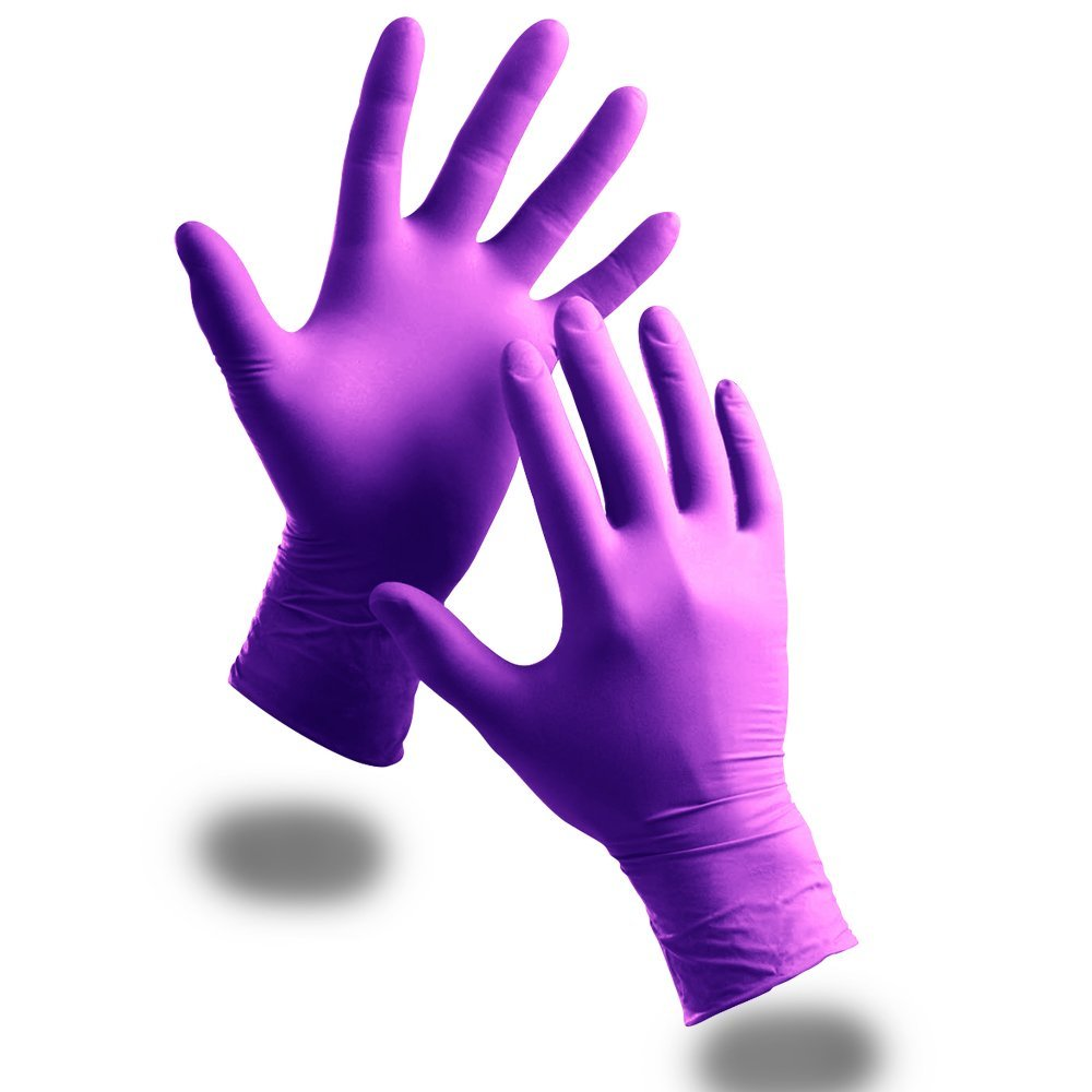100 x Extra Strong Powder Free Purple Nitrile Disposable Gloves (Medium) - Comes With TCH Anti-Bacterial Pen! by The Chemical Hut