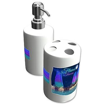 """Dispensador de jabón personalizado/Porta cepillo de dientes, , Diseño """"FLAME TOWERS"""""""