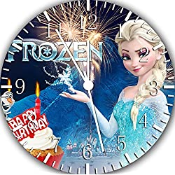 Disney Frozen Elsa Happy Birthday Borderless Frameless Wall Clock E388 Nice For Decor Or Gifts