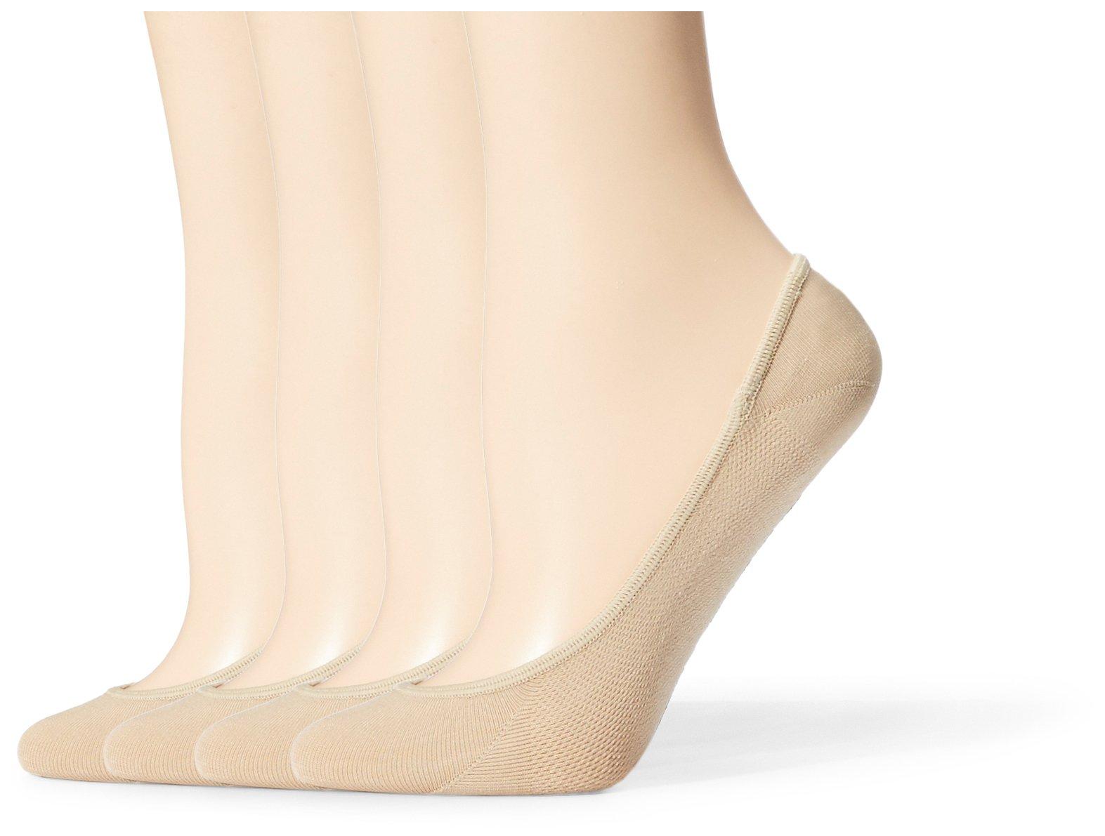 Starter Women's 4-Pack Microfiber Invisible Liner Socks, Prime Exclusive, Beige, Medium (Shoe Size 5-9.5)