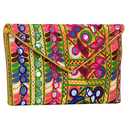 - Women Banjara Evening Clutch Bag with Mirror work, 100% Cotton, Size 9 x 6 Inches Yellow