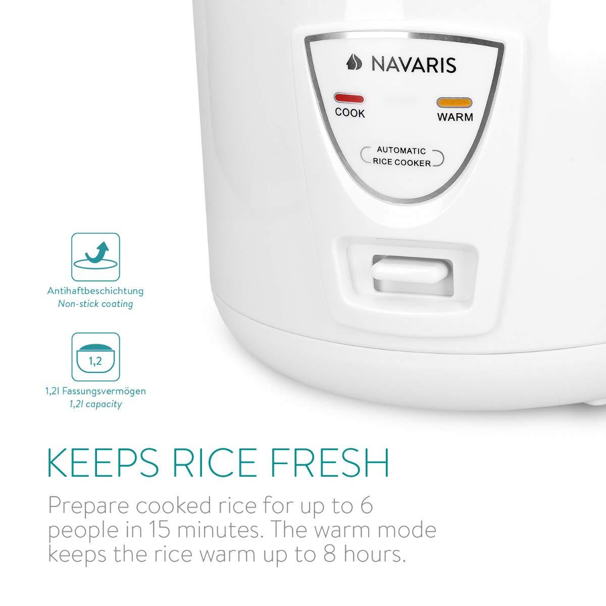 f/ür bis zu 6 Personen 500 Watt 220V Navaris 1,2 Liter Reiskocher Warmhaltefunktion in Wei/ß mit L/öffel D/ämpfeinsatz Messbecher