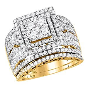Bridal 14K Yellow Gold Cluster Baguette Real Diamond Engagement Ring Set 2.5 CT