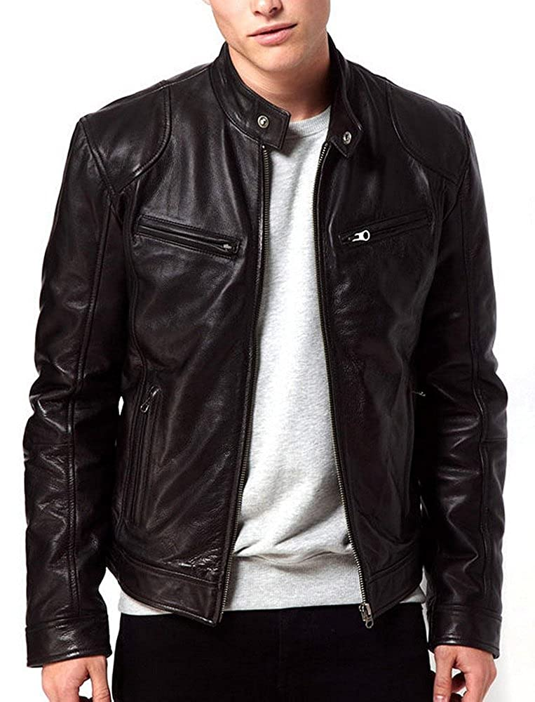 5d735a676 LEATHERINO Mens Leather Jacket Collection Motorcycle Black Leather ...