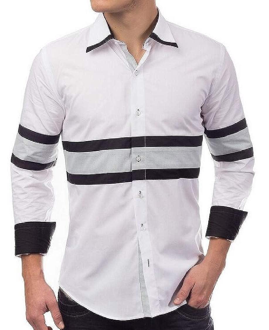 Nanquan Men Button Down Slim Fit Long Sleeve Casual Stitching Shirts