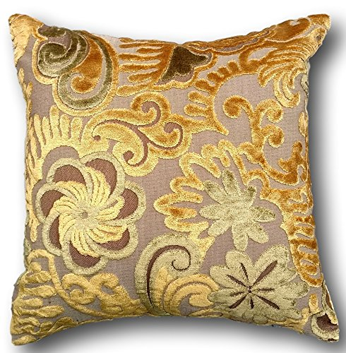 Golden Cushion Throw Pillow Cover - Tache Elegant Gold - Floral Embossed Case - Yellow, Green, Brown, Beige - 1 Piece