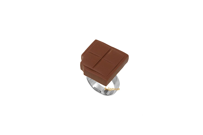 Lady-Charms - Fait-main - Bague réglable Gourmande Carré de Chocolat