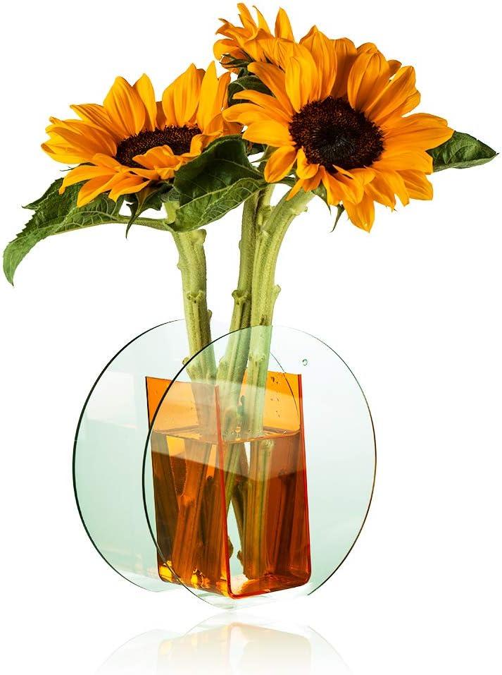 Yiluana Acrylic Flower Vase Make-up Brush/Pen Holder Elegant Modern Contemporary Design Vase for Home Office Wedding Decor (Orange, Circle)